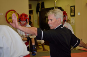 Intermediate sparring class in session